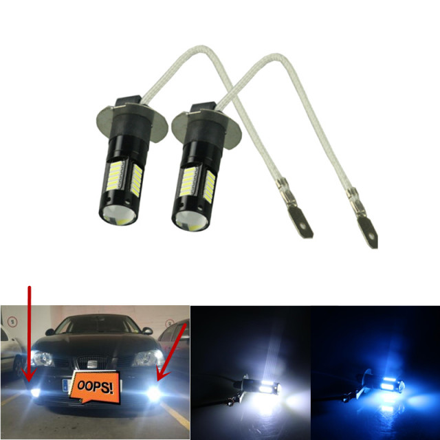 2pcs White 30 SMD 4014 H3 LED Replacement Bulbs For Car Fog Lights, Daytime Running Lights, DRL Lamps ice blue yellow