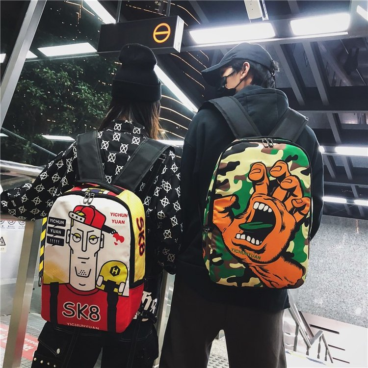 2019 New Funny Personality Hip Hop Oxford Bag Shoulder Bag Harajuku Ulzzang Street Men And Women Tide Backpack