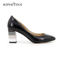 SOPHITINA Genuine Leahter Pumps Slip On Sheepskin Square Heel Pointed Toe Shoes Women Dark Blue Black