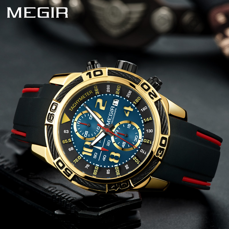 все цены на Relogio Masculino MEGIR Watch Men Fashion Quartz Army Military Clock Mens Watches Top Brand Luxury Waterproof Sport Watch онлайн