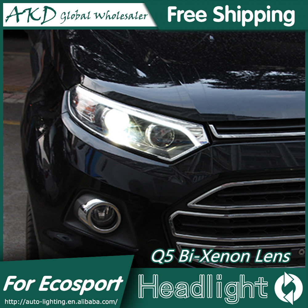 AKD Car Styling for Ford Ecosport Headlights 2015 New Ecosport LED Headlight DRL Bi Xenon Lens High Low Beam Parking Fog Lamp купить
