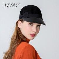 2018 Leather Brim Patchwork Fedoras New High Quality Fashion Wool Felt Hat Women Fedora Equestrian Cap