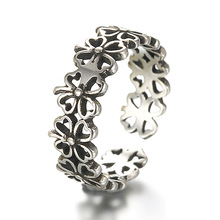 100% 925 sterling silver fashion thai silver retro style lucky flower ladies`finger open party rings jewelry women no fade ring thailand imports 925 sterling silver thai silver retro lucky 13 bone stick skull ring