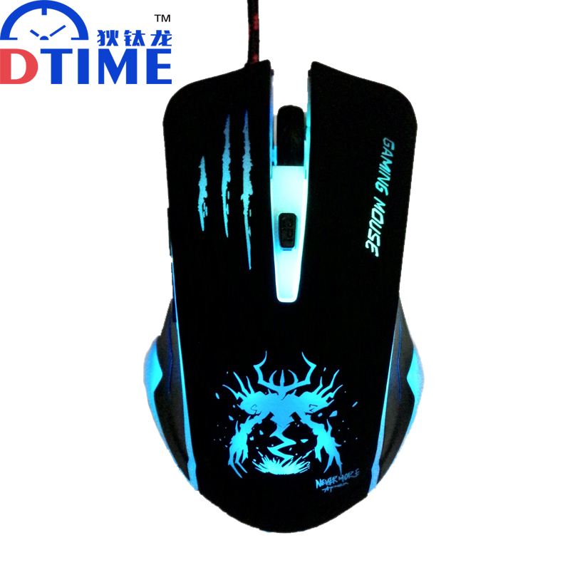 DTIME Wired Optical USB LED Light Computer PC Game Gamer Gaming Mouse Mice Mause For Dota 2 CS Games Car Laptop Raton souris