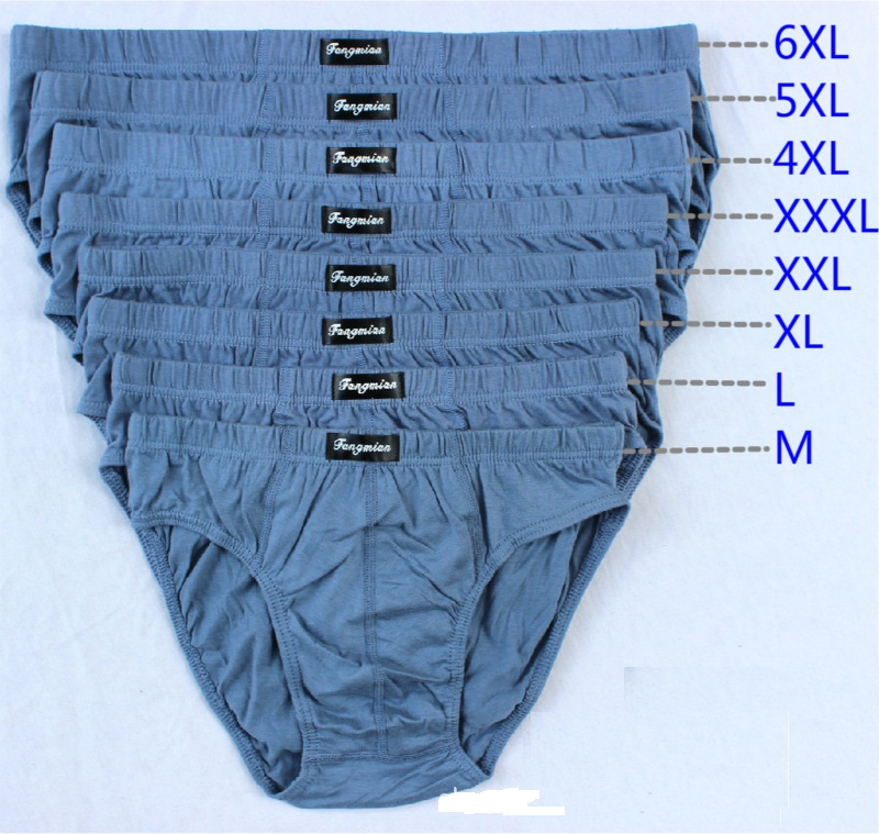 5pcs/lot Big Pluz Size 100% Cotton Briefs Men's Comfortable Underpants Underwear L/XL/2XL/3XL/4XL/5XL/6XL