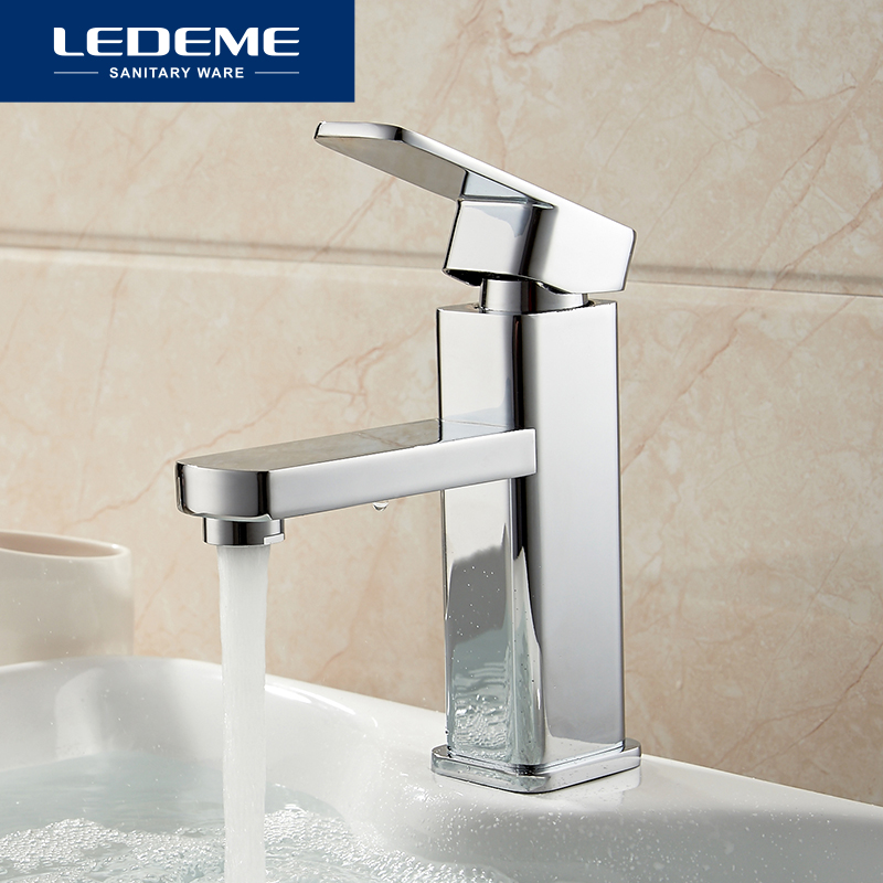 LEDEME Basin Faucets Basin Faucet Tap Mixer Finish Brass Square Pillar Designer Water Chrome Modern Waterfall Faucets L1033(China)