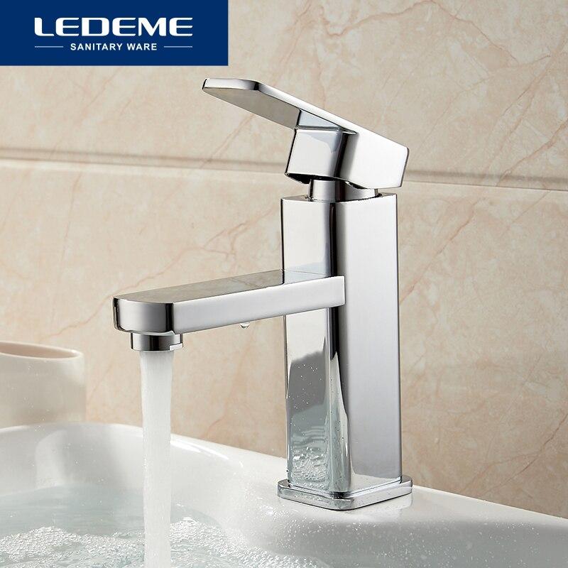 LEDEME Becken Armaturen Basin Wasserhahn Mischbatterie Finish Messing Quadratischen Säule Designer Wasser Chrom Moderne Wasserfall Armaturen L1033