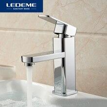 LEDEME robinets de lavabo finition mitigeur, pilier carré en laiton chromé de créateur, eau moderne cascade L1033