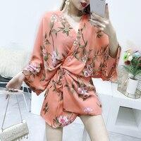 Women Summer Blouse 2018 Fashion Floral Printed Half Sleeve Casual Beach Boho Kimono Cardigan Long Blusas Chiffon Tops Cover Up
