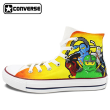Orange Boys Girls Converse All Star Lego Ninjago Design Hand Painted Shoes Men Women Sneakers Skateboarding Shoes Best Gifts