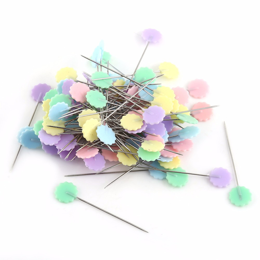 100pcs//Box Bowknot Patchwork Pins Flower Head Sewing Quilting Tool DIY Crafts