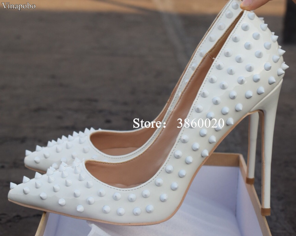 Vinapobo Rivets Pointed Toe High Heels Fashion Patent Leather Stiletto High  Heel Pumps White Wedding Bridal Slip on Rivets Shoes-in Women s Pumps from  Shoes ... d0c044d01c3a