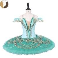 FLTOTURE профессиональной балетное с юбкой пачкой пачка светло зеленый цвет CT9212 Для женщин конкурс балета Dance этап одежда драже костюмы
