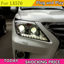 цена на doxa Car headlight For Lexuz LX570 headlights 2012-2014 led headlight led drl H7 hid Bi-Xenon Lens low beam Front light