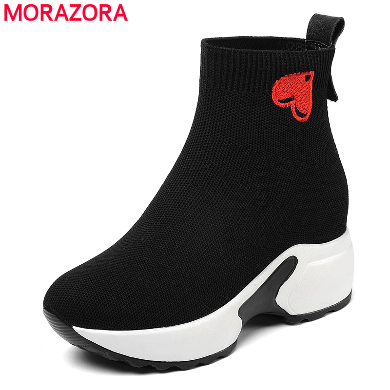 MORAZORA 2020 Hot Sale Platform Boots Women Embroider Heart-shaped Elastic Boots Flat Ankle Boots Ladies Autumn Winter Boots