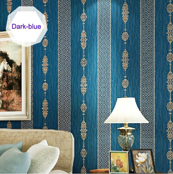 все цены на Wholesale 3d flocking blue damask vertical stripe wallpaper rolls for living room TV background wall paper roll wallcovering онлайн
