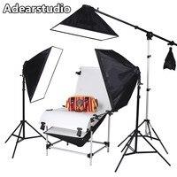 Adearstudio Photography Lighting Softbox 4 Lamp Shooting Station Photographic Equipment Set Shooting Table KIT D50