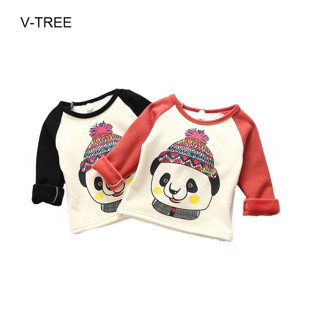 Spring and autumn long sleeve T shirts for boys and girls Long-sleeved panda plus cashmere T-shirt Baby clothes