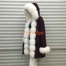 free shipping women real fur coat popular luxury fox vest fashion parks red warm winter outerwear