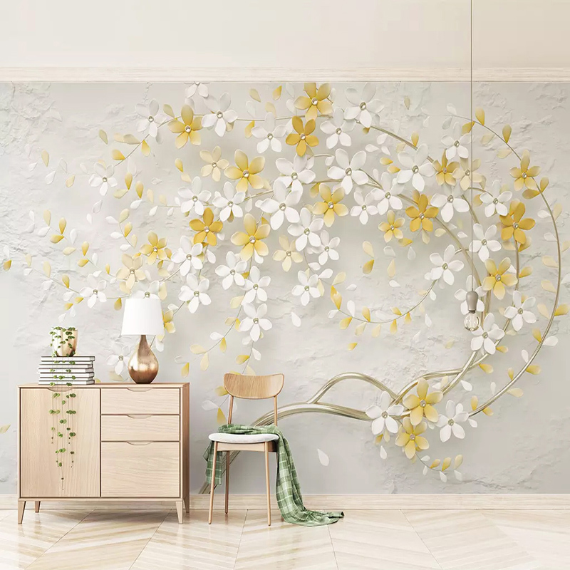 3D Wallpaper Modern Stereo Small Fresh Lemon Yellow Flowers Photo Wall Murals Living Room TV Sofa Background Wall Painting Decor
