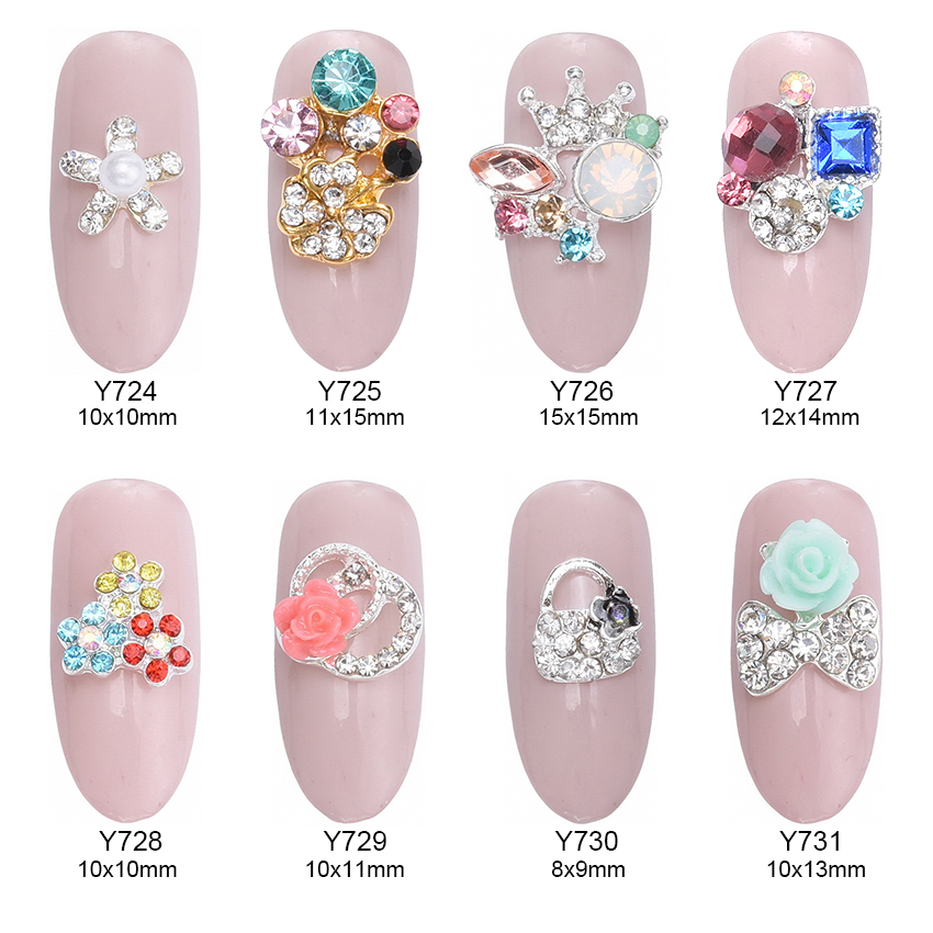 10pcs nails decorations new arrive opal gem nail stone strass crown craft jewelry mochila flower star nailart charm Y724~731 brand new japan smc genuine valve syj5120 5mzd c6