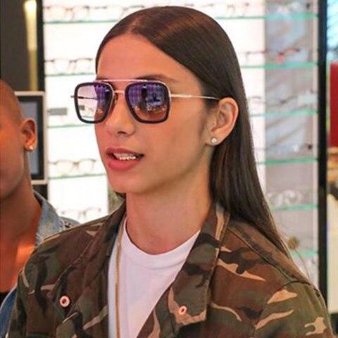 AOZE Fashion Avengers Tony Stark Flight Style Sunglasses Men Square Brand Design Sun Glasses Oculos De Sol  UV400 Retro male Islamabad