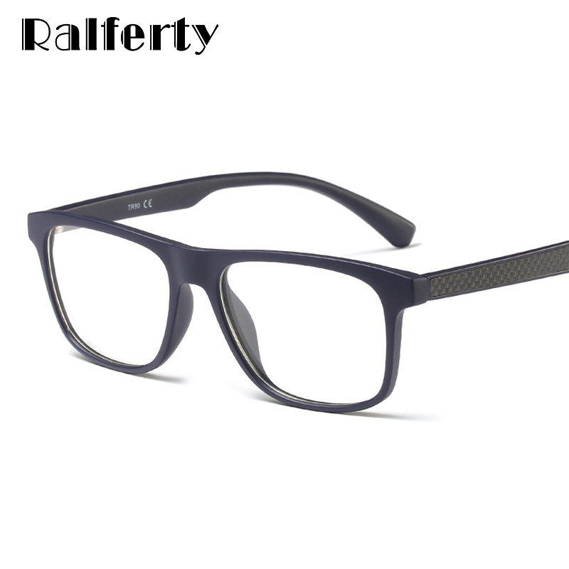 Ralferty Carbon Fiber Glasses Frame Men Women Ultra-Light Square Eyewear Frame Myopia Optic Diopters Zero Points Spectacle F8001