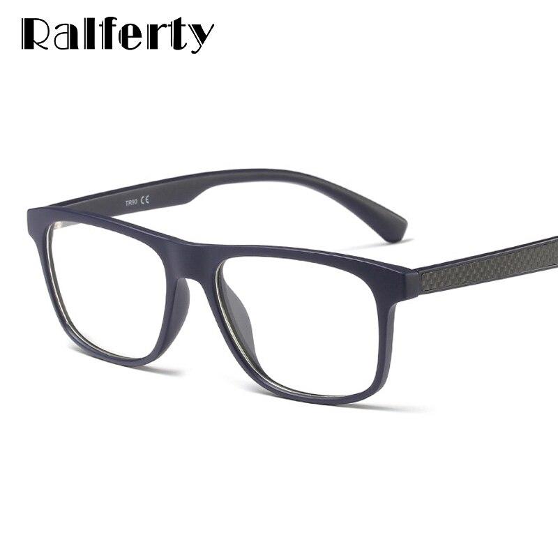 Ralferty Carbon Fiber Glasses Frame Men Women Ultra-Light Square Eyewear Frame Myopia Optic Diopters Zero Points Spectacle F8001