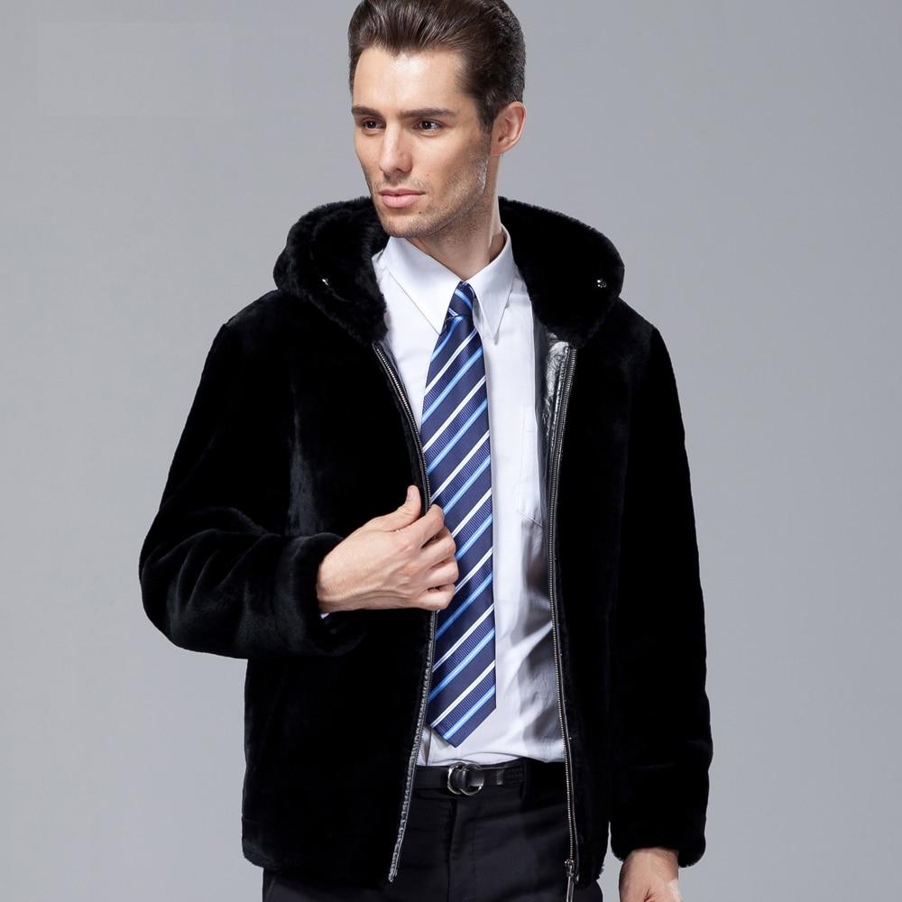 Winter Fashion Men's Geniune Real Sheepskin Leather Wool Fur Coat Jacket with a Hood Mink Collar Black Oversized 2XL 3XL 4XL 5XL