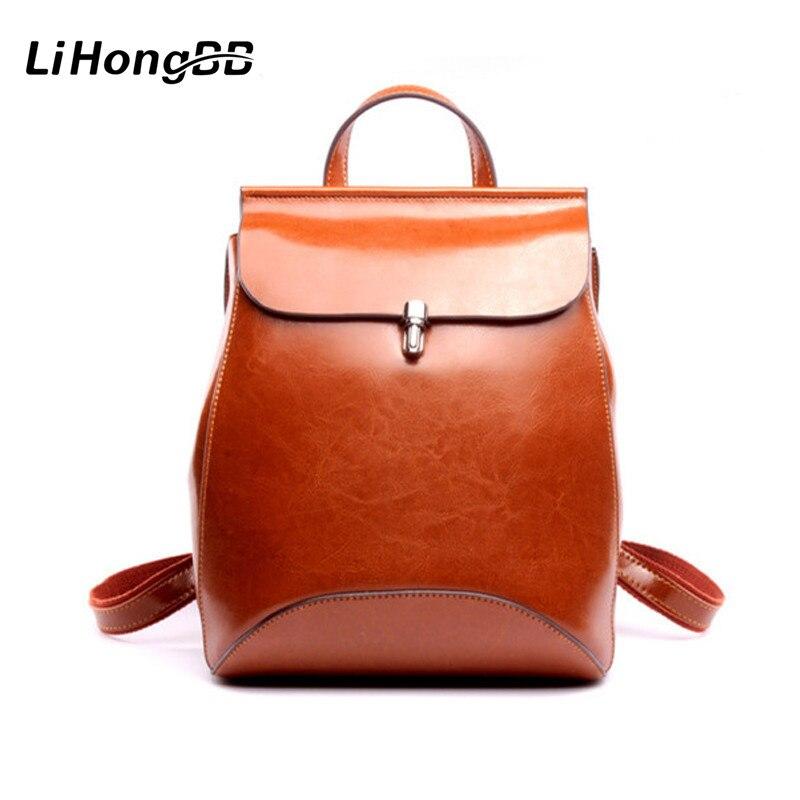 LIHONGBAOBAO haute qualité en cuir véritable sac à dos pour femmes huile cire de vache en cuir Vintage sac à dos sacs d'école pour adolescents femme