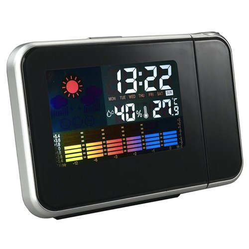Digital Weather Temperature Humidity Wall Projection Snooze Alarm Clock LED Display