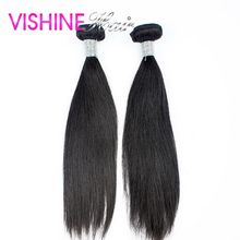 7A Vishine Soft Indian Virgin Hair Straight Human hair weaving 2Pcs Natural Virgin Indian Straight can be restyled Stema hair
