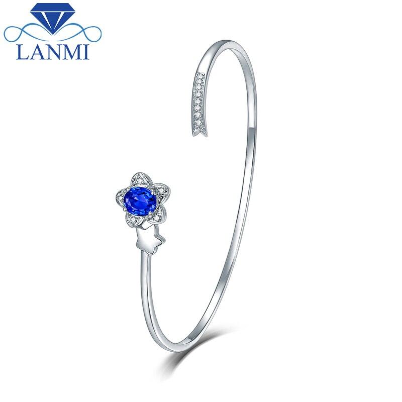 Wholesale Real 14K White Gold Natural Sapphire Bracelet Pretty ...