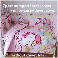 Promotion 6 7PCS Hello Kitty Baby Set Cotton Cartoon Animal Crib Bedding Set For Boy Duvet