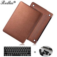 Redlai Silk Leather Surface Hard Case For Macbook Air 11 13 Pro 13 15 Touch bar 2016 Case New Retina 12 13 15'' Keyboard Cover