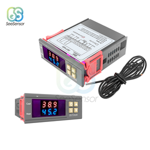 DST1020 DC 12-72V AC 110V 220V Dual Display Digital Thermostat Temperature Controller DS18B20 Sensor Waterproof Replace STC-1000