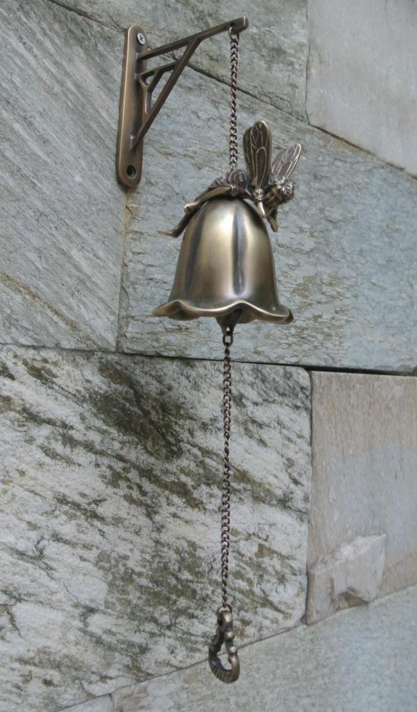 Antique en laiton moulé bienvenue dîner cloche ange fleur fixé au mur décoration murale en métal carillons éoliens artisanat en cuivre