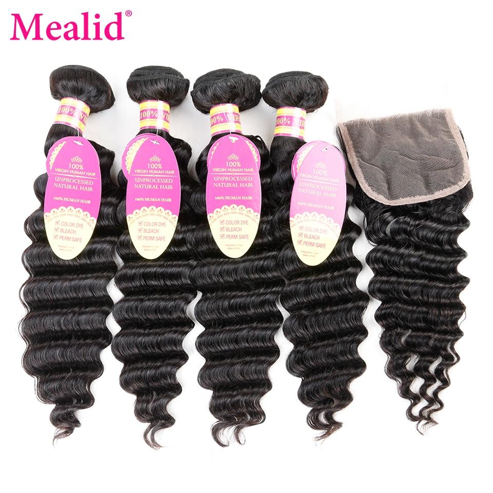 Mealid Brazilian Deep Wave Bundles With Closure Natural Color Non-remy 4 Bundles With Closure Free Part Human Hair Extensions