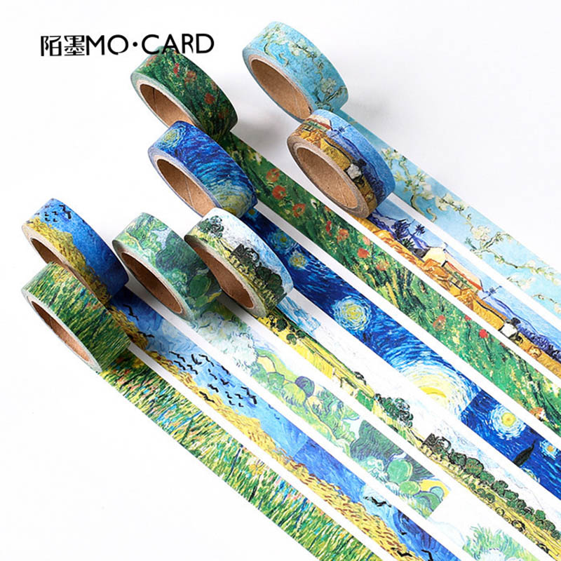 7m*15mm DIY Cute Kawaii Van Gogh Decorative Washi Tape Vintage Adhesive Tape For Scrapbooking Diary Student  Stationery 3071