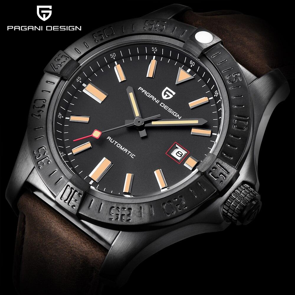 PAGANI PROJETO Marca de Topo dos homens Novos Clássicos Relógios Mecânicos 30M Genuíno Couro De Luxo Grande mostrador do Relógio Automático À Prova D' Água