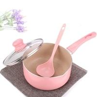 16CM/18CM Pink Soup Pot Saucepan Portable Stockpot Milk Heating Nonstick Cooking Pan Kitchen Cookware For Gas & Induction Cooker|Soup & Stock Pots| |  -