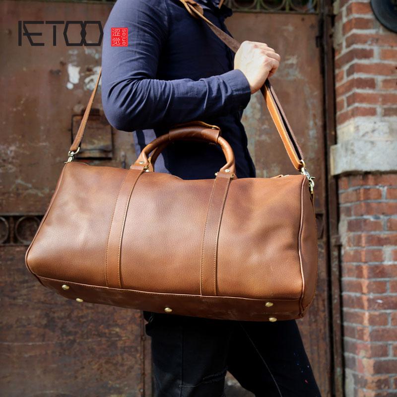 Aetoo мужские большие сумки Mad лошадей Деловых Поездок Сумка импорт первый слой кожи Большие емкость путешествия