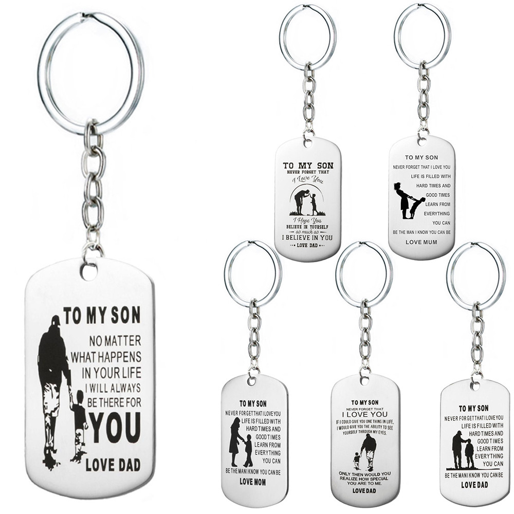 Fathers Day Dad Gift Dog Tag Pendant Silver Keychain Keyring Charms