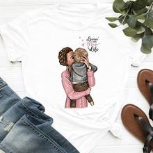 ZOGANKI Women T Shirt Summer Casual Short Sleeve O Neck T-shirt Ladies White TShirt Tops Cartoon Tees Fashion Mama