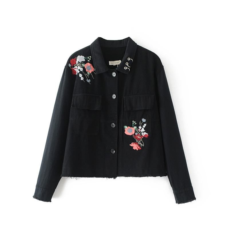 Free shipping autumn and winter font b women s b font casual flower embroidery turn down