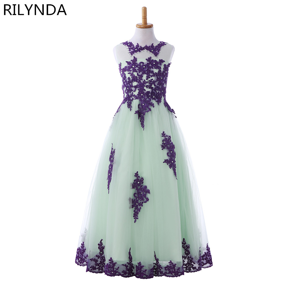 New Arrival 2017 Little Girls Pageant Dress Purple and Green Ball Gown Beads Lace Applique Floor Length Flower Girls Dress