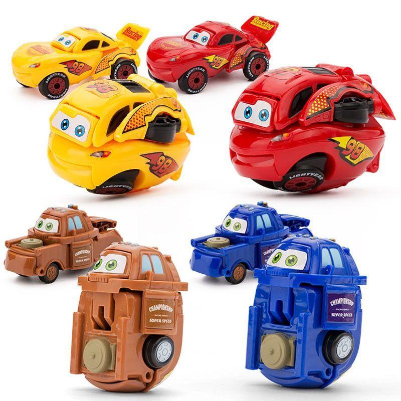 Baby Toy Cars Children Model Mini Car Inertia Toy Vehicles Transformation Egg Shape Anti-Slip