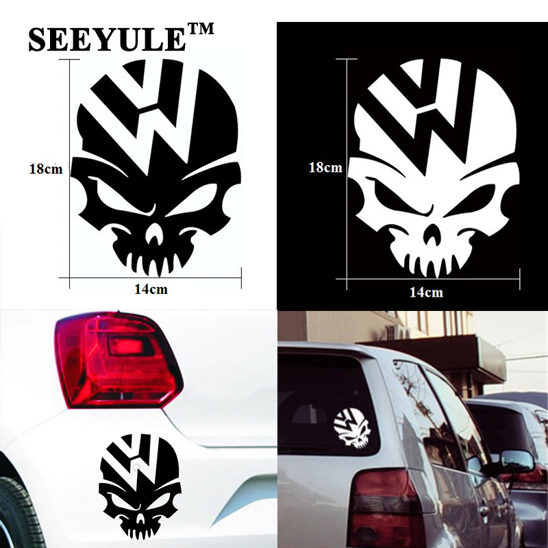 1pc SEEYULE Ghost Rider Skull Crazy Car Sticker Emblem საწვავის სატანკო საფარი ვინილის Decal For VW Beetle Tiguan Golf 4 5 6 Passat B5 B6