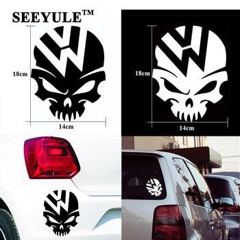 1pc SEEYULE jinete fantasma cráneo coche loco etiqueta engomada emblema tapa de tanque de combustible de calcomanía de vinilo para VW Beetle Tiguan Golf 4 5 6 Passat B5 B6