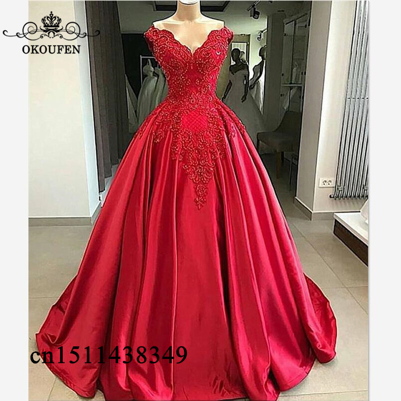 Red Puffy A Line   Prom     Dresses   With Appliques Beads 2019 Off Shoulder Elegant Long Formal Evening   Dress   Party For Women Customize